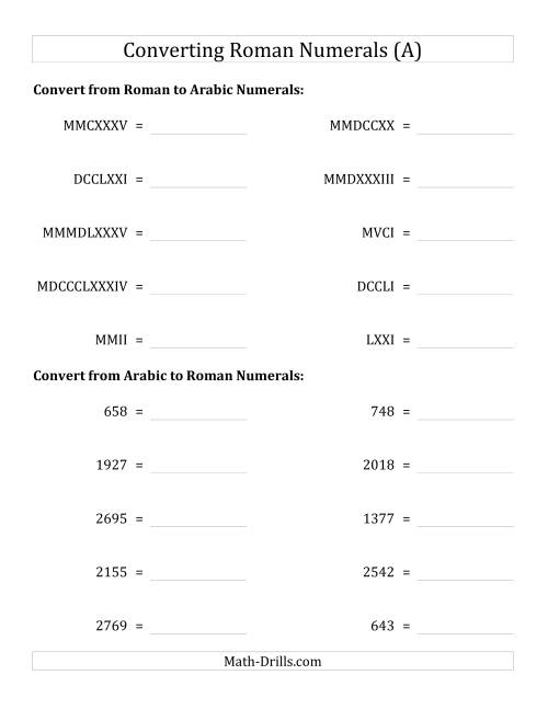 The Converting Compact Roman Numerals up to MMMIM to Standard Numbers (A) Number Sense Worksheet
