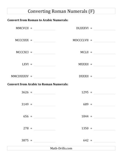 The Converting Compact Roman Numerals up to MMMIM to Standard Numbers (F) Math Worksheet