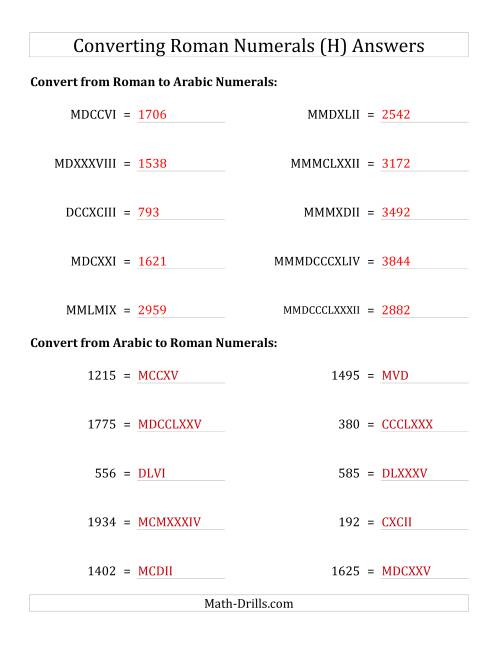 The Converting Compact Roman Numerals up to MMMIM to Standard Numbers (H) Math Worksheet Page 2