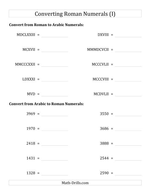 The Converting Compact Roman Numerals up to MMMIM to Standard Numbers (I) Math Worksheet