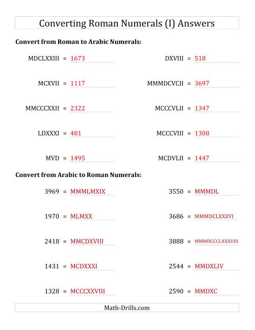 The Converting Compact Roman Numerals up to MMMIM to Standard Numbers (I) Math Worksheet Page 2