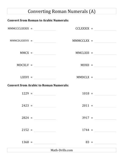 The Converting Roman Numerals up to MMMCMXCIX to Standard Numbers (A) Math Worksheet