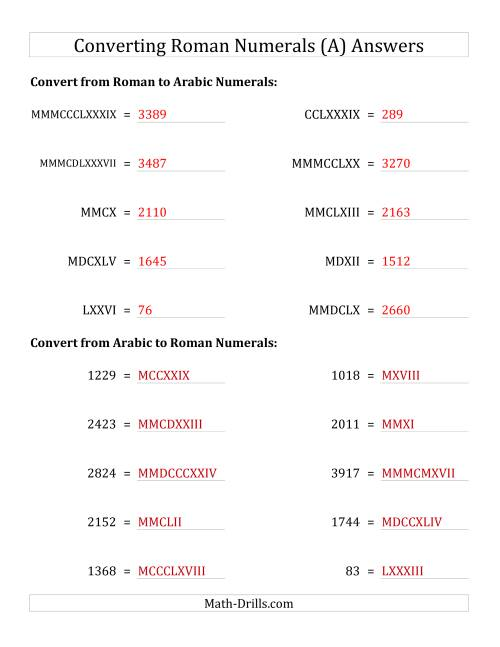 The Converting Roman Numerals up to MMMCMXCIX to Standard Numbers (A) Math Worksheet Page 2