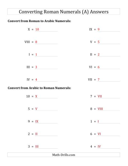 The Converting Roman Numerals from I to X to Standard Numbers (A) Math Worksheet Page 2