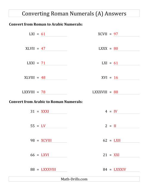The Converting Roman Numerals up to C to Standard Numbers (A) Math Worksheet Page 2