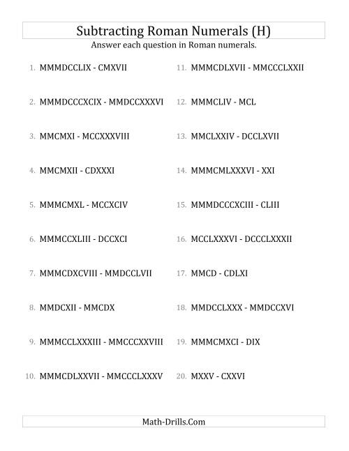 The Subtracting Roman Numerals up to MMMCMXCIX (H) Math Worksheet