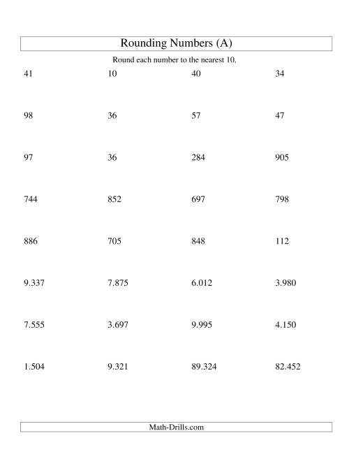 The Rounding Numbers to the Nearest 10 (Euro Version) (A) Math Worksheet