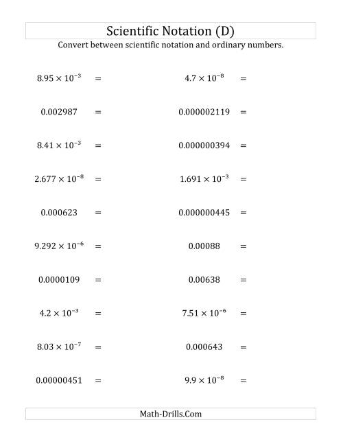 The Converting Between Scientific Notation and Ordinary Numbers (Small Only) (D) Math Worksheet