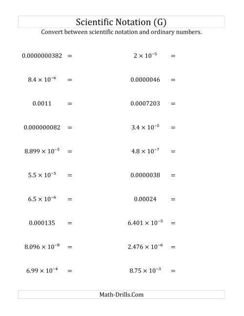 The Converting Between Scientific Notation and Ordinary Numbers (Small Only) (G) Math Worksheet