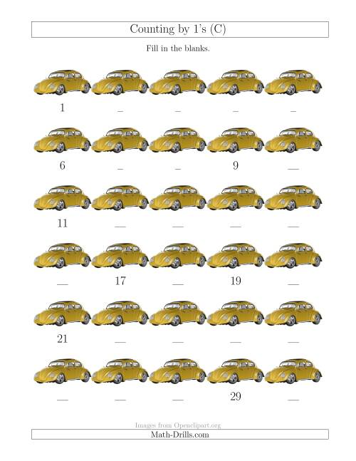 The Counting by 1's with Cars (C) Math Worksheet