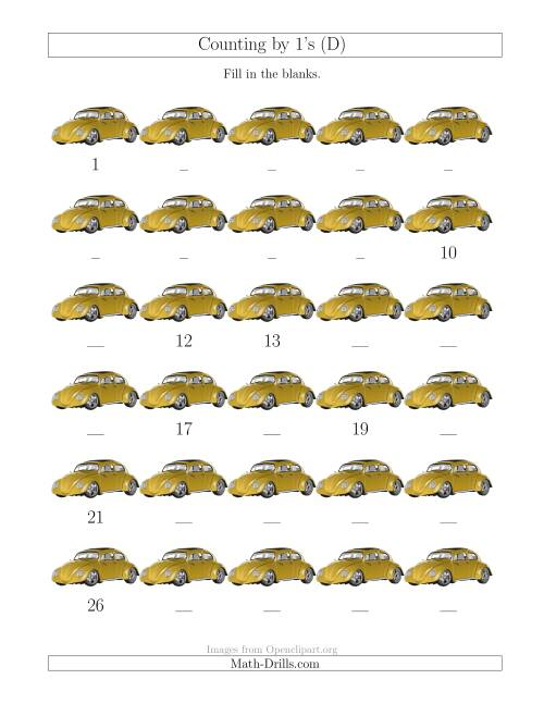 The Counting by 1's with Cars (D) Math Worksheet