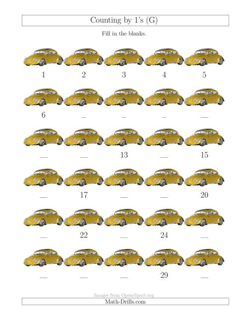 The Counting by 1's with Cars (G) Math Worksheet