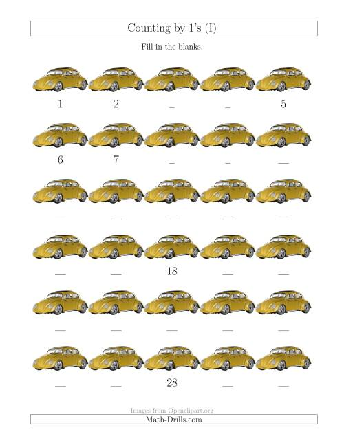 The Counting by 1's with Cars (I) Math Worksheet