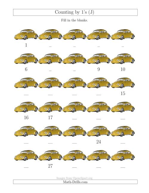 The Counting by 1's with Cars (J) Math Worksheet
