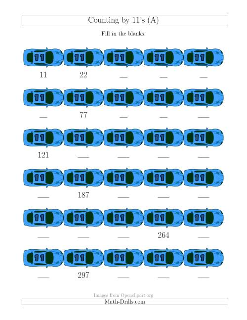 The Counting by 11's with Cars (A) Math Worksheet