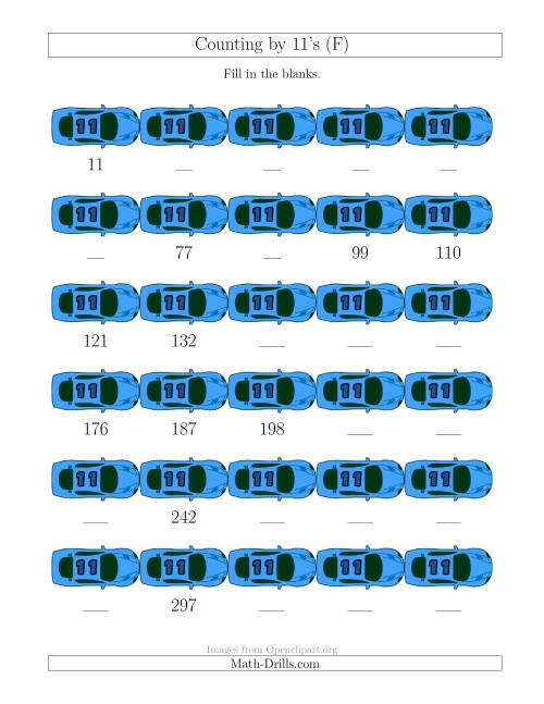 The Counting by 11's with Cars (F) Math Worksheet