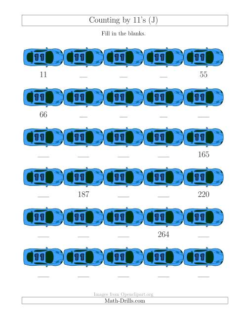 The Counting by 11's with Cars (J) Math Worksheet