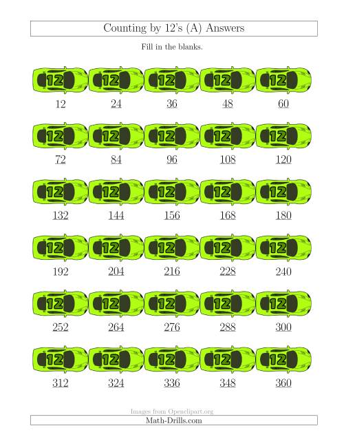 The Counting by 12's with Cars (A) Math Worksheet Page 2