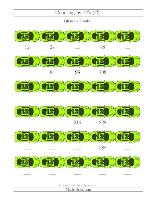 The Counting by 12's with Cars (C) Math Worksheet
