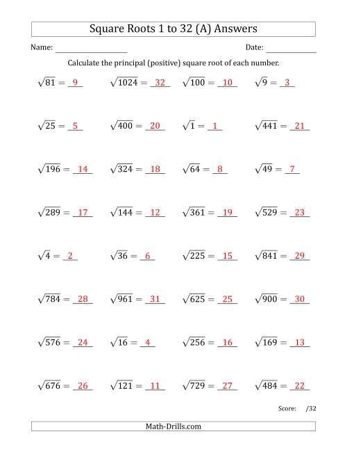 The Principal Square Roots 1 to 32 (A) Math Worksheet Page 2