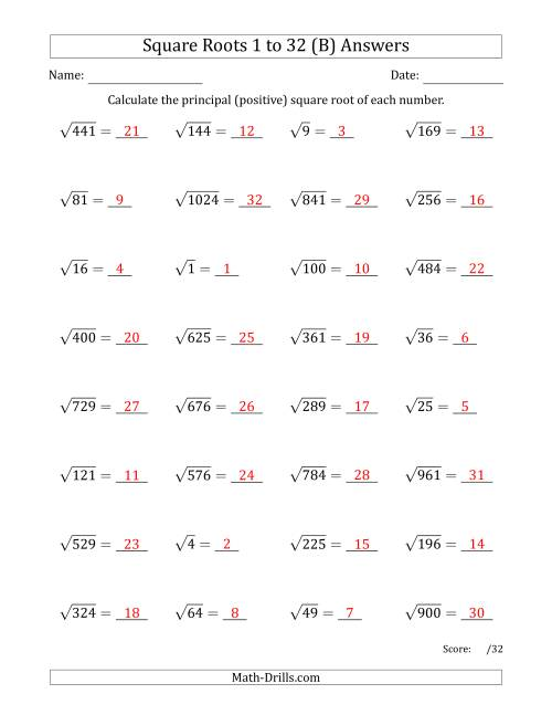 The Principal Square Roots 1 to 32 (B) Math Worksheet Page 2