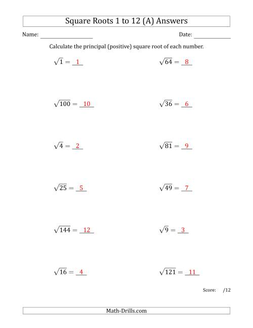 The Principal Square Roots 1 to 12 (A) Math Worksheet Page 2