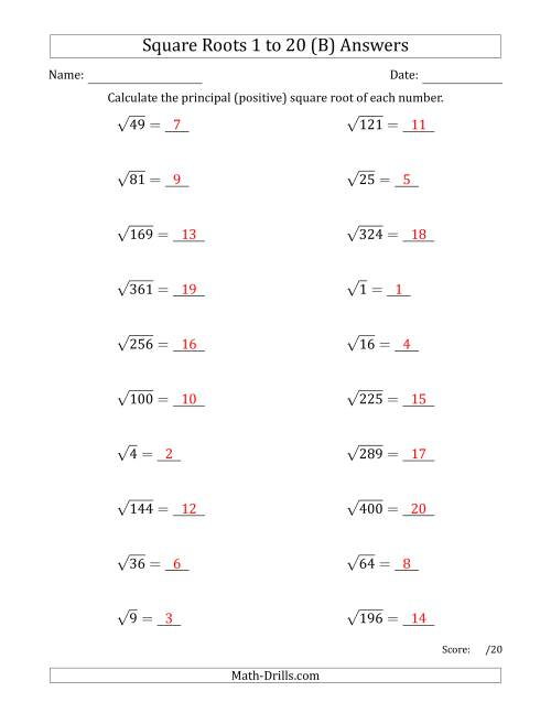 The Principal Square Roots 1 to 20 (B) Math Worksheet Page 2