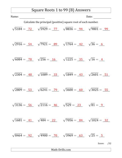 The Principal Square Roots 1 to 99 (B) Math Worksheet Page 2