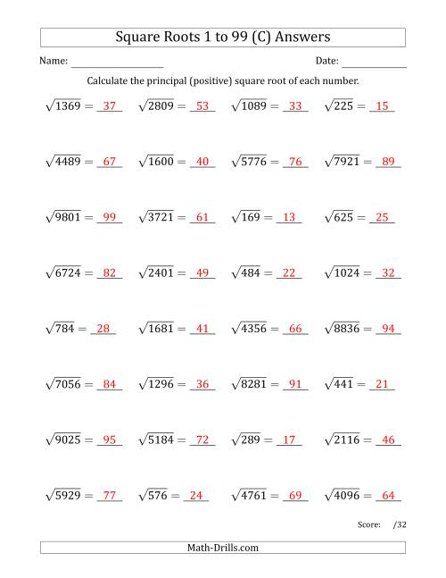 The Principal Square Roots 1 to 99 (C) Math Worksheet Page 2