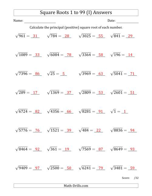 The Principal Square Roots 1 to 99 (I) Math Worksheet Page 2