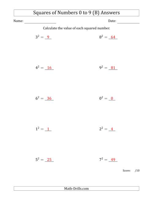 The Squares of Numbers from 0 to 9 (B) Math Worksheet Page 2