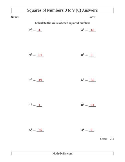 The Squares of Numbers from 0 to 9 (C) Math Worksheet Page 2