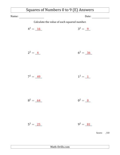 The Squares of Numbers from 0 to 9 (E) Math Worksheet Page 2