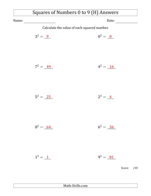 The Squares of Numbers from 0 to 9 (H) Math Worksheet Page 2
