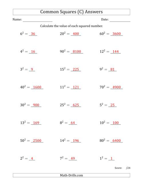 The Commonly Squared Numbers (C) Math Worksheet Page 2