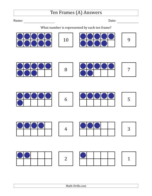 The Completed Ten Frames with the Numbers in Reverse Order (A) Math Worksheet Page 2