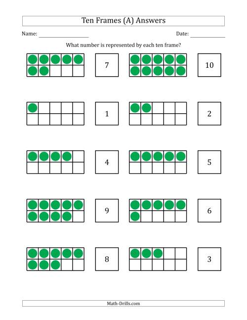 The Completed Ten Frames with the Numbers in Random Order (A) Math Worksheet Page 2