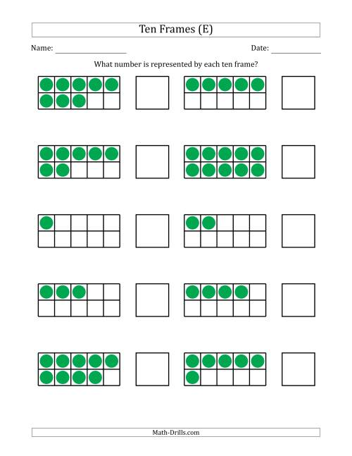 The Completed Ten Frames with the Numbers in Random Order (E) Math Worksheet
