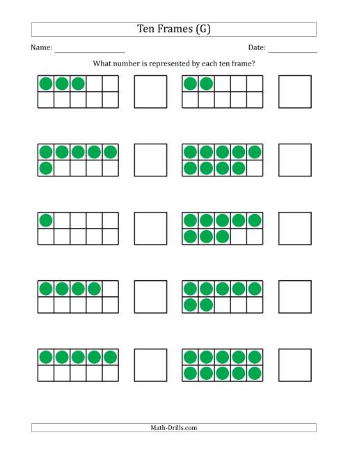 The Completed Ten Frames with the Numbers in Random Order (G) Math Worksheet