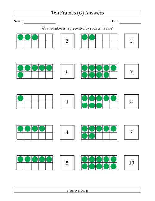 The Completed Ten Frames with the Numbers in Random Order (G) Math Worksheet Page 2