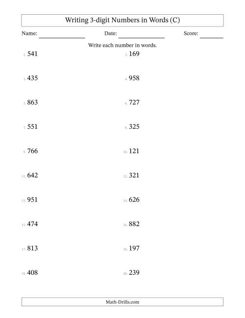 The Written Numbers -- 3-Digit (C) Math Worksheet