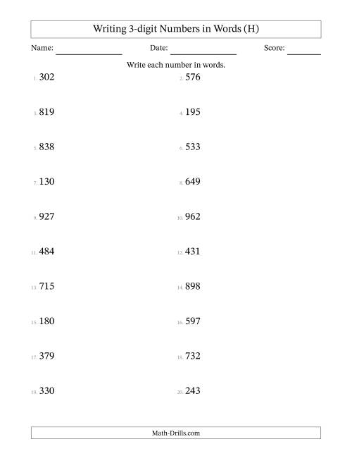 The Written Numbers -- 3-Digit (H) Math Worksheet