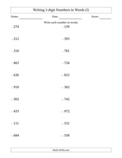 The Written Numbers -- 3-Digit (I) Math Worksheet