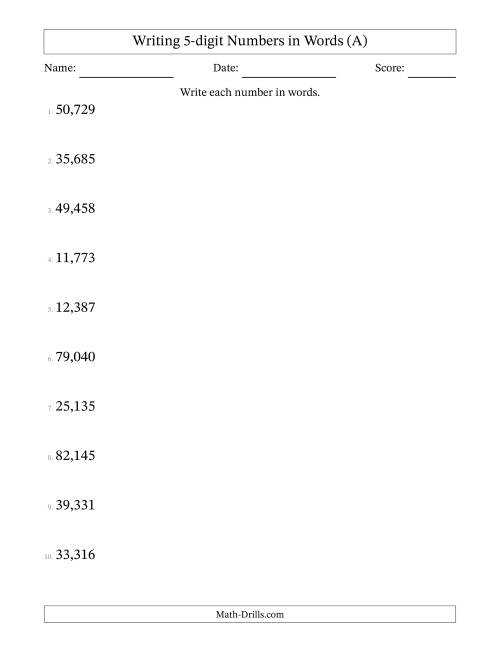 The Written Numbers -- 5-Digit (U.S. Version) (A) Math Worksheet