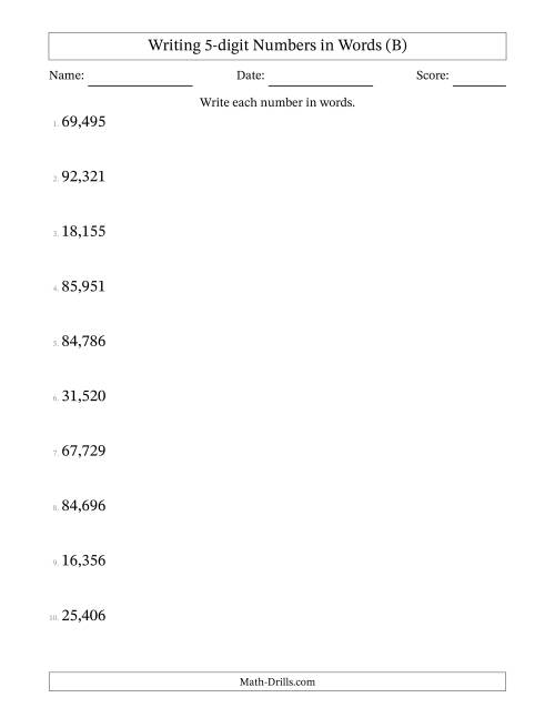 The Written Numbers -- 5-Digit (U.S. Version) (B) Math Worksheet