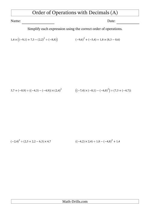 The Order of Operations with Negative and Positive Decimals (Five Steps; Comma Decimal Format) (A) Math Worksheet