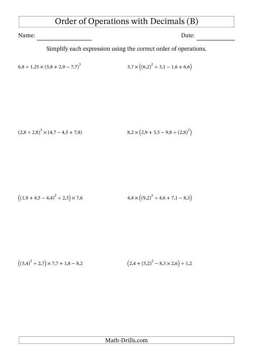 The Order of Operations with Positive Decimals (Five Steps; Comma Decimal Format) (B) Math Worksheet