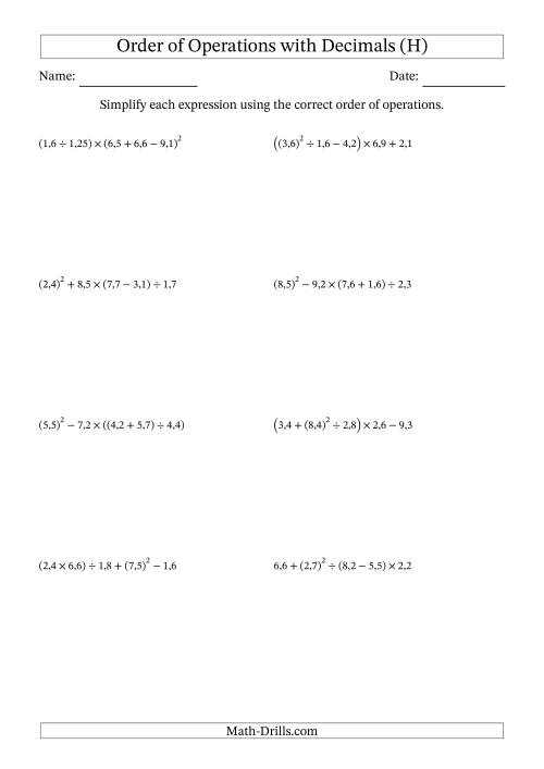 The Order of Operations with Positive Decimals (Five Steps; Comma Decimal Format) (H) Math Worksheet
