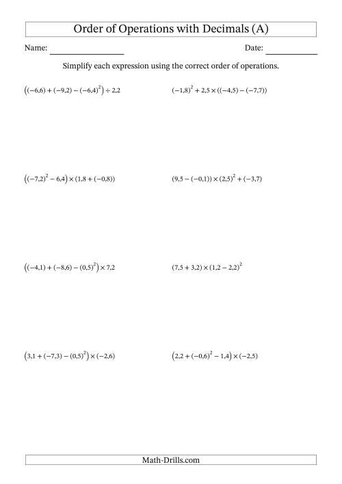 The Order of Operations with Negative and Positive Decimals (Four Steps; Comma Decimal Format) (A) Math Worksheet