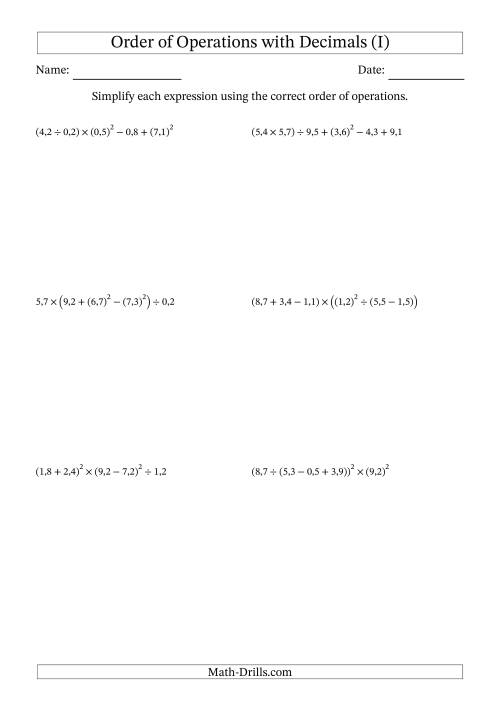 The Order of Operations with Positive Decimals (Six Steps; Comma Decimal Format) (I) Math Worksheet